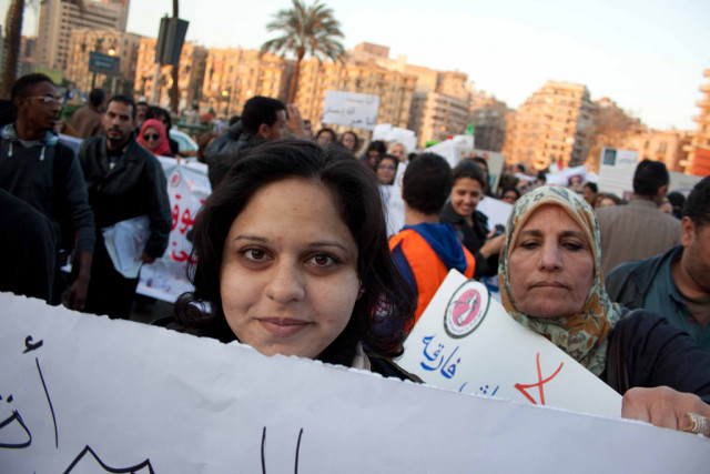 Egyptians march for International Womens Day 2012