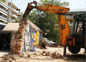 Orfanotrofeio, squatted and active since 2009, being demolished.