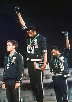 John Carlos does the black power salute at 68 Olympics