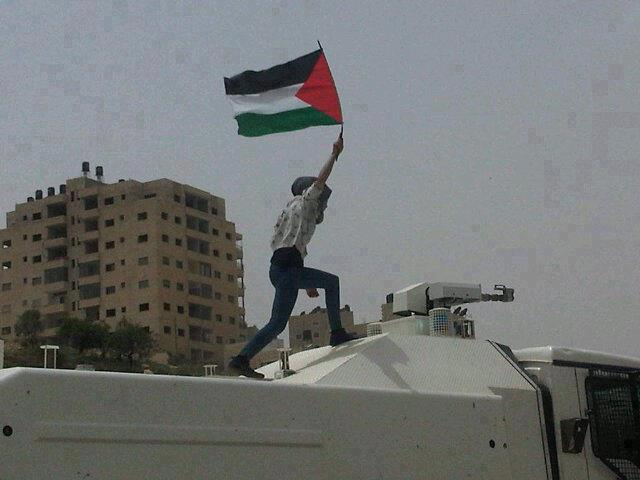 A Palestinian woman climbs on top of an Israeli skunk truck in a protest outside of Ofer prison - 1 May 2012(Photo Abir Kopty