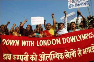 Victims of the Bhopal gas tragedy protest against Dow Chemicals' sponsorship of the London 2012 Olympics