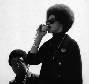 Kathleen Cleaver speaking at Black Panther Rally - 1969