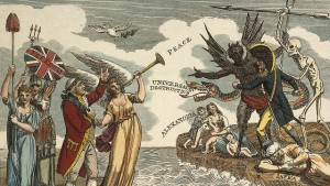 Anti-revolutionary propaganda depicts King George III surrounded by symbols of British peace and liberty, while across the channel the figure of Napoleon is stalked by poverty and 'universal destruction' . (Source: The British Library)