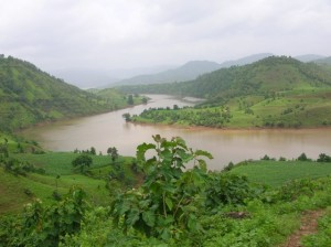 View of the bloated river