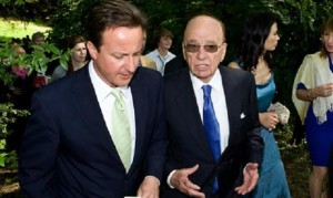 News Corp's chairman, Rupert Murdoch, trying not to influence David Cameron in June 2009. (Photo: Julian Andrews - Guardian)