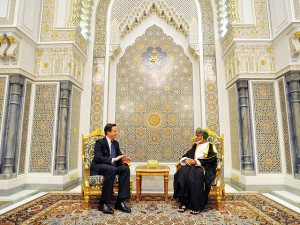 David Cameron meets with Sultan Qaboos bin Said al Said at his palace in Muscat; 24 February 2011 (Photo: PA)