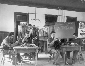 Black students during a class on the assembly and repair of telephones at Hampton Institute (1899)