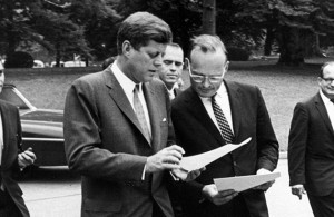 John F. Kennedy and McGeorge Bundy outside the White House, June 13, 1962 (Source: NYRB.com)