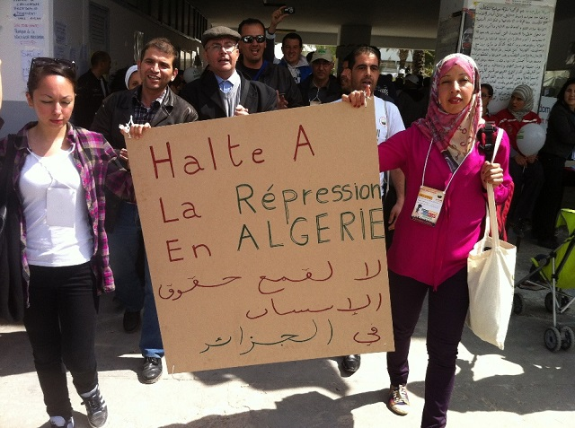 Makeshift banners denouncing the border incidents and calling for the end to repression and violation of human rights in Algeria Algerian Cultural Collective