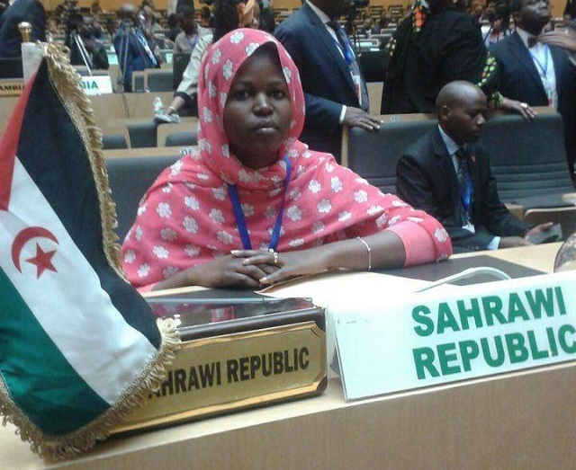 Maria Eid Saila, third secretary at the SADR Embassy in Ethiopia, at a meeting at the Africa Union headquarters in Adis Ababa.