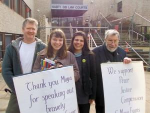 Maya and supporters outside court, before her sentencing. 29 February 2012 (Photo: Jon Stevenson)