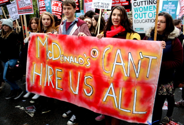 Students from York University at the NUS Demonstration, 24th November 2012