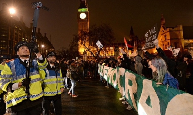 November 2014. Occupy Democracy activists at Parliament Square, London. (Credits: Anthony Devlin/PA)