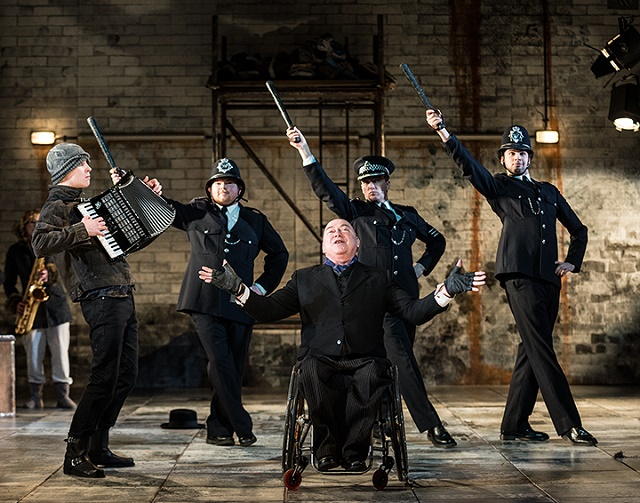 """Graeae Theatre Company. Co production with Nottingham Playhouse and the Wolsey Theatre, Ipswich. """"The Threepenny Opera""""."""