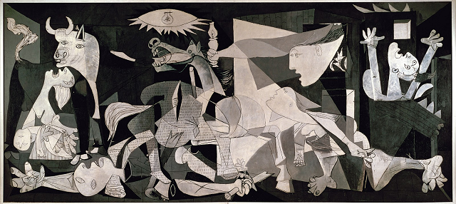 Pablo Picasso's Guernica (1937) is a powerful, creative response to the the bombing of a Spanish town by German aircraft supporting the ultranationalist forces of General Franco
