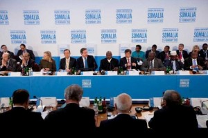 David Cameron opens the Somalia conference in London, 23 Feb 2012 . (Photograph: Matt Dunham/AFP/Getty Images)