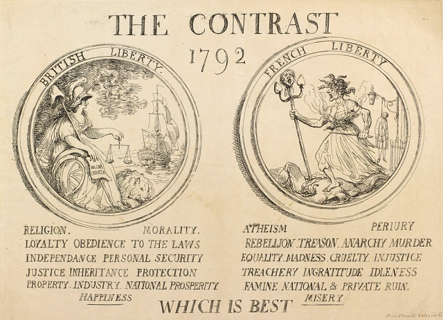 The Contrast, a 1792 etching by Thomas Rowlandson, published on behalf of the Association for the Preservation of Liberty and Property against Republicans and Levellers. (Source: http://www.brh.org.uk)