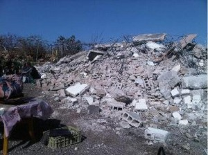 The ruins of the demolished Abu Omar family home 24th January 2012 - (photo: Itay Epshtain - ICAHD