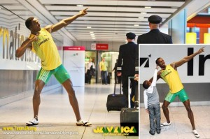 Travellers were greeted with a waxwork figure of Usain Bolt as they arrived at Heathrow's Terminal 5 yesterday. The figure is due to take it's place in Madame Tussauds but fans were given the chance to pose with the sporting hero as the airport welcomes record numbers of passengers arriving for the Olympics.