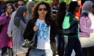A Tunisian woman walks on October 30, 20