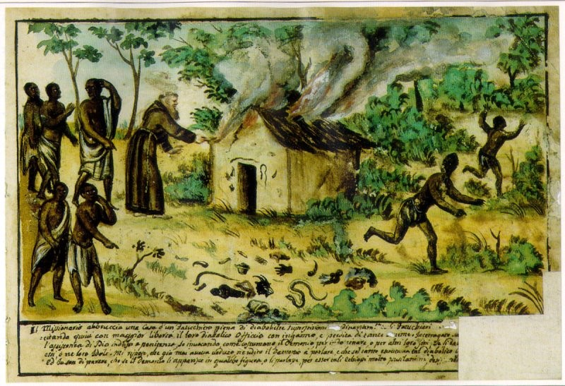 "A Catholic Missionary circa 1740, Kingdom of Kongo, burning down the house of local ""Nganga"" / Shaman (Spiritualist)"