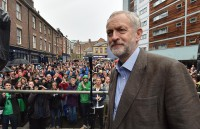 Labour leadership candidate Jeremy Corbyn speaks outside the Tyne Theatre and Opera House, Newcastle, during his campaign.