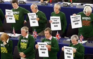 Eurosceptic members of the European Parliament display posters calling on the EU to respect the outcome of Ireland's recent vote Photo: AP