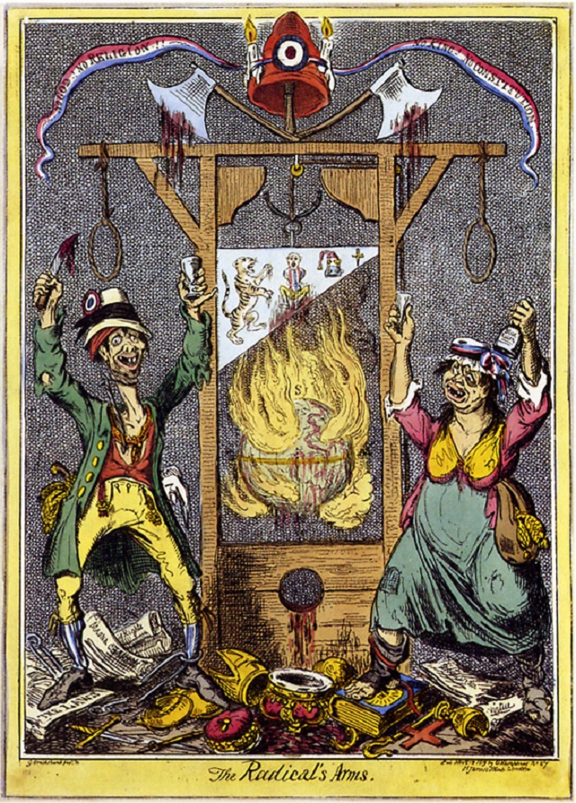 George Cruickshank caricature mocks the 'Radicals' campaigning for parliamentary reform as dangerous murderers and debauched atheists.