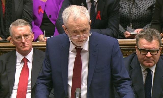 Jeremy Corbyn speaking against UK bombing in Syria.