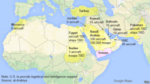 Countries taking part in the Saudi-Led military intervention in Yemen.